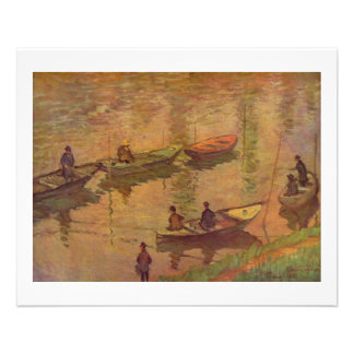Fishermen fishing river Seine at Poissy by Monet Flyer