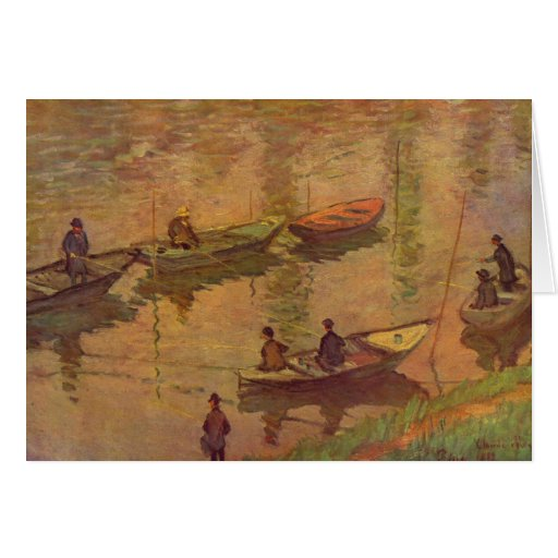 Fishermen fishing river Seine at Poissy by Monet Greeting Card
