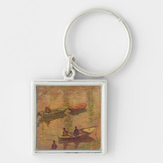 Fishermen fishing river Seine at Poissy by Monet Keychain
