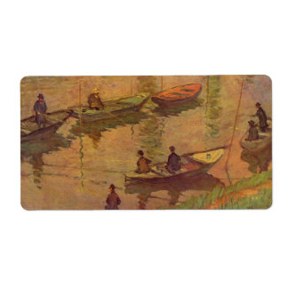 Fishermen fishing river Seine at Poissy by Monet Label