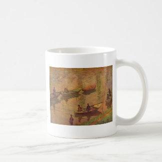 Fishermen fishing river Seine at Poissy by Monet Classic White Coffee Mug