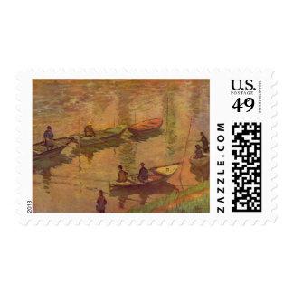 Fishermen fishing river Seine at Poissy by Monet Postage