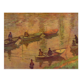 Fishermen fishing river Seine at Poissy by Monet Postcard