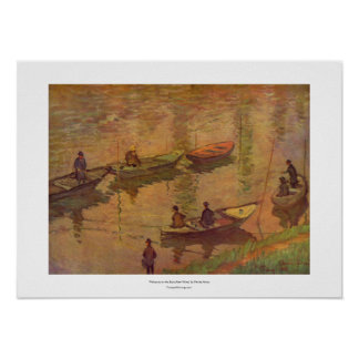 Fishermen fishing river Seine at Poissy by Monet Poster