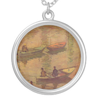 Fishermen fishing river Seine at Poissy by Monet Silver Plated Necklace