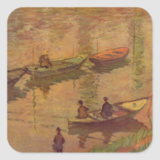 Fishermen fishing river Seine at Poissy by Monet Square Sticker
