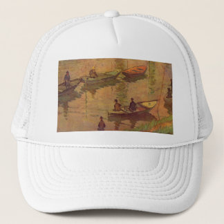 Fishermen fishing river Seine at Poissy by Monet Trucker Hat