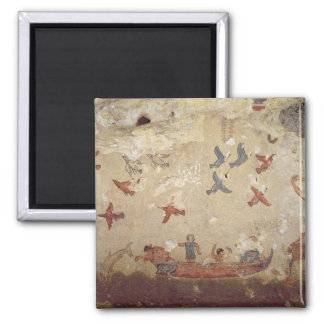 Fishermen in a boat and birds flying 2 inch square magnet