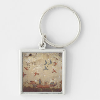 Fishermen in a boat and birds flying keychain