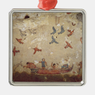 Fishermen in a boat and birds flying metal ornament