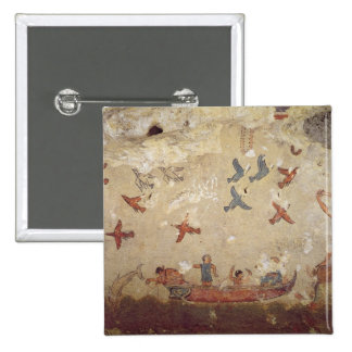 Fishermen in a boat and birds flying pinback button