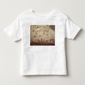 Fishermen in a boat and birds flying toddler t-shirt