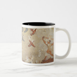 Fishermen in a boat and birds flying Two-Tone coffee mug