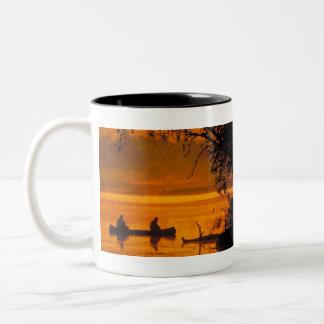 Fishermen in a canoe Two-Tone coffee mug