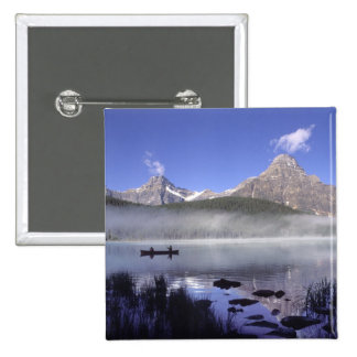Fishermen in canoe on Waterfowl Lake, Banff 2 Inch Square Button