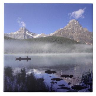 Fishermen in canoe on Waterfowl Lake, Banff Ceramic Tile