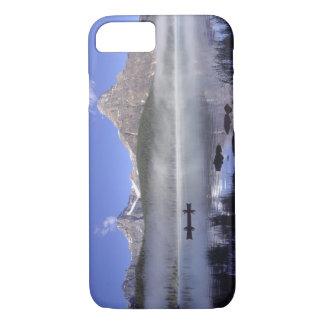 Fishermen in canoe on Waterfowl Lake, Banff iPhone 8/7 Case