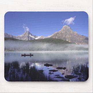 Fishermen in canoe on Waterfowl Lake, Banff Mouse Pad