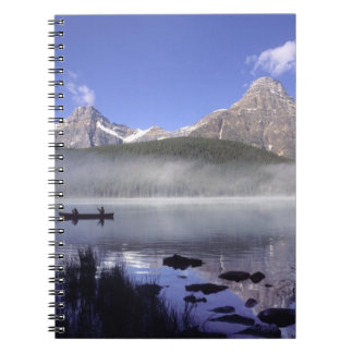 Fishermen in canoe on Waterfowl Lake, Banff Spiral Notebook