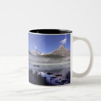 Fishermen in canoe on Waterfowl Lake, Banff Two-Tone Coffee Mug