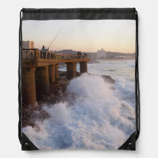Fishermen On Pier, Margate, South Coast Drawstring Backpacks