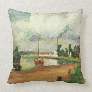Fishermen on the Banks of the Oise, 1876 (oil on c Throw Pillow