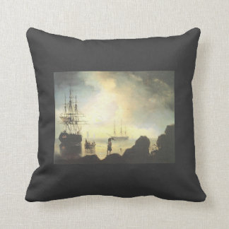 Fishermen on the Shore by Ivan Aivazovsky Throw Pillows