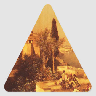 Fishermen on the Terrace by Franz Richard Triangle Sticker