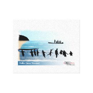 Fishermen pulling seine canvas print