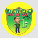Fishermens Liars Club T-shirts and Gifts Round Stickers