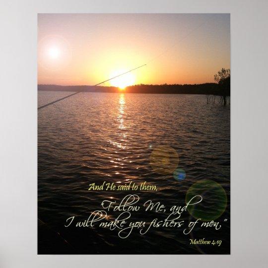 Fishers Of Men Bible Verse Poster Zazzle Com