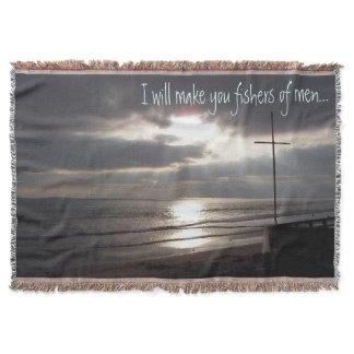 Fishers of Men Ocean Beach Sun Rays Throw Blanket
