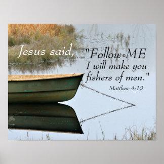 Fishers of Men Scripture, Matthew 4:19 Bible Verse Poster