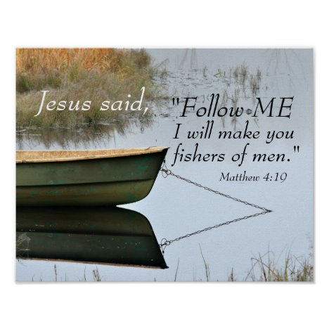 Fishers of Men Scripture, Matthew 4:19 Bible Verse Poster