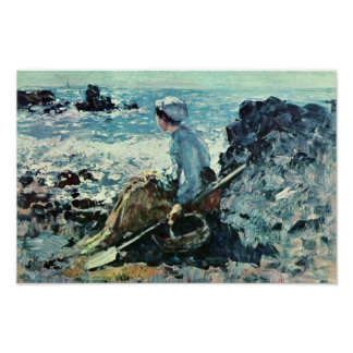 Fisherwoman de Granville de Grigorescu Nicolae Póster