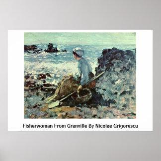 Fisherwoman de Granville de Nicolae Grigorescu Posters