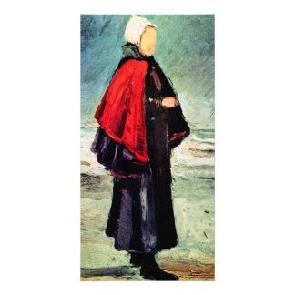 Fisherwoman en la orilla de Vincent van Gogh Tarjetas Personales Con Fotos