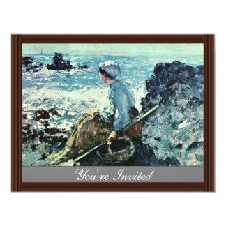 Fisherwoman From Granville By Grigorescu Nicolae 4.25x5.5 Paper Invitation Card
