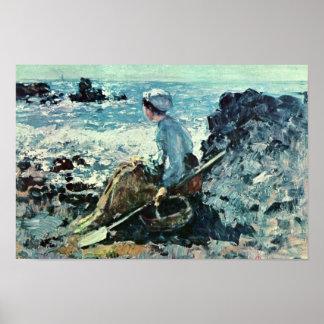 Fisherwoman From Granville By Grigorescu Nicolae Poster