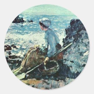 Fisherwoman From Granville By Grigorescu Nicolae Classic Round Sticker