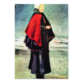 Fisherwoman on the shore by Vincent van Gogh 5x7 Paper Invitation Card