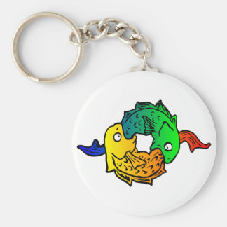 Fishes Basic Round Button Keychain