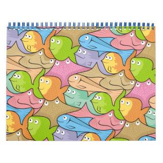 Fishes cartoon calendar