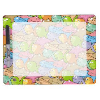 Fishes cartoon dry erase board with keychain holder