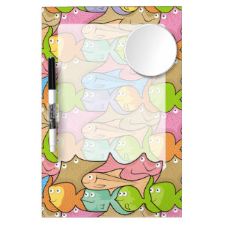 Fishes cartoon dry erase board with mirror