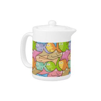 Fishes cartoon teapot