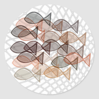 fishes catched in net classic round sticker