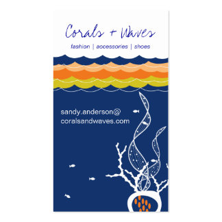 Fishes Corals Ocean Sea Waves Underwater Navy Blue Business Cards