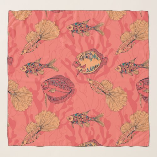 Fishes on living coral background scarf