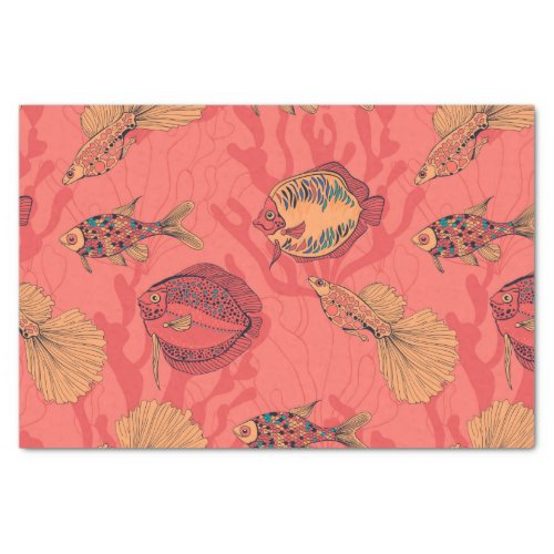 Fishes on living coral background tissue paper